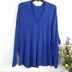 Lush cobalt blue v neck long sleeve top